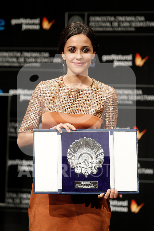 Spanish actress Macarena Garcia receives the Silver Shell award for best actress during the Awards Gala in the 60th San Sebastian Donostia International Film Festival - Zinemaldia.September 29,2012.(ALTERPHOTOS/ALFAQUI/Acero)