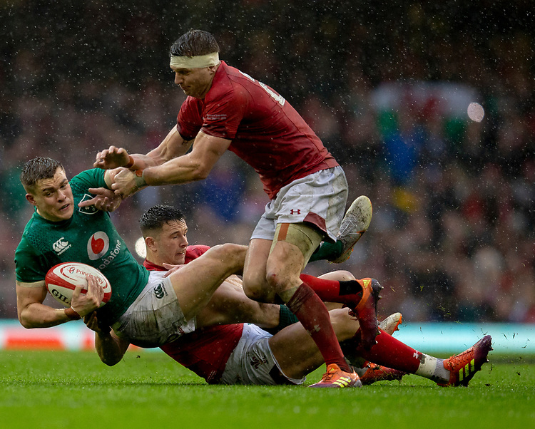 Ireland's Garry Ringrose in action during todays match<br /> <br /> Photographer Bob Bradford/CameraSport<br /> <br /> Guinness Six Nations Championship - Wales v Ireland - Saturday 16th March 2019 - Principality Stadium - Cardiff<br /> <br /> World Copyright © 2019 CameraSport. All rights reserved. 43 Linden Ave. Countesthorpe. Leicester. England. LE8 5PG - Tel: +44 (0) 116 277 4147 - admin@camerasport.com - www.camerasport.com