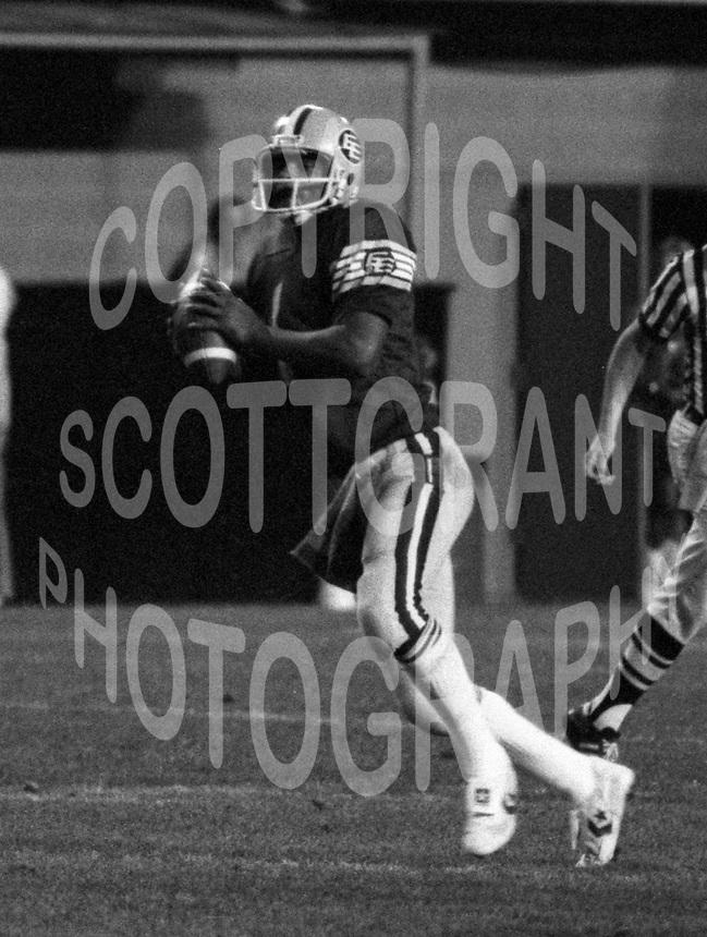 Warren Moon Edmonton Eskimos quarterback. Photo copyright Scott Grant.