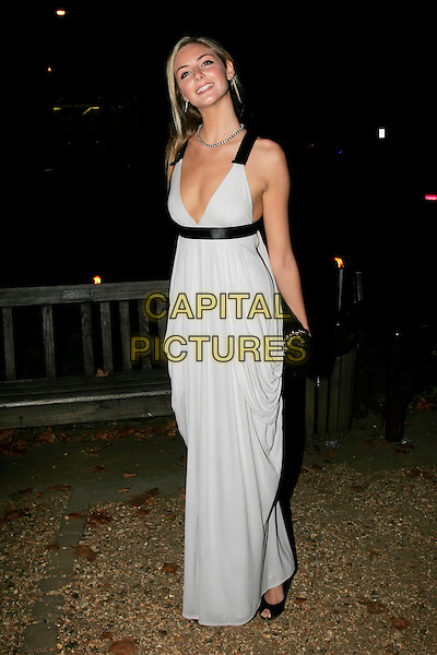 "TAMSIN EGERTON.The ""End of Summer Ball"" at Berkeley Square, London, England. .September 25th 2008.full length Chanel clutch bag black straps white dress tamzin long maxi.CAP/AH.©Adam Houghton/Capital Pictures."