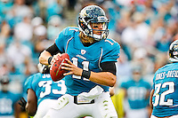 November 27, 2011:   Jacksonville Jaguars quarterback Blaine Gabbert (11) drops back to pass during second half action between the Jacksonville Jaguars and the Houston Texans played at EverBank Field in Jacksonville, Florida.  Houston defeated Jacksonville 20-13.........