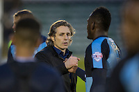 Wycombe Wanderers manager Gareth Ainsworth thanks Aaron Pierre of Wycombe Wanderers at full time of the Sky Bet League 2 match between Plymouth Argyle and Wycombe Wanderers at Home Park, Plymouth, England on 30 January 2016. Photo by Mark  Hawkins / PRiME Media Images.