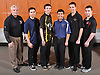 The 2017 Newsday All-Long Island boys bowling team poses for a group portrait during the All-Long Island photo shoot at company headquarters on Monday, March 27, 2017. From left: Bob Cheadle of East Islip, Peter Ramos of West Babylon, Daniel Petriello of Commack, Eric Bholan of Smithtown East, Tony Macchietto of Mineola and Kurt Schall of Middle Country.