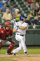 Round Rock Express outfielder Brad Snyder #25 hits his second home run of the Pacific Coast League baseball game against the Memphis Redbirds on April 24, 2014 at the Dell Diamond in Round Rock, Texas. The Express defeated the Redbirds 6-2. (Andrew Woolley/Four Seam Images)