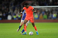 Huddersfield Town's Terence Kongolo battles with Cardiff City's Gavin Whyte<br /> <br /> Photographer Ian Cook/CameraSport<br /> <br /> The EFL Sky Bet Championship - Cardiff City v Huddersfield Town - Wednesday August 21st 2019 - Cardiff City Stadium - Cardiff<br /> <br /> World Copyright © 2019 CameraSport. All rights reserved. 43 Linden Ave. Countesthorpe. Leicester. England. LE8 5PG - Tel: +44 (0) 116 277 4147 - admin@camerasport.com - www.camerasport.com