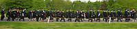 Panoramic photo of graduations during Graduation Ceremony at Belmont Abbey College in Belmont, NC.