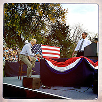 U.S. President Barack Obama and Vice President Joe Biden during a campaign rally in Dayton, Ohio