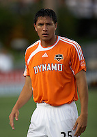 Houston Dynamo's Brian Ching prepares to meet FC Dallas at Robertson Stadium in Houston, TX on Saturday May 6, 2006. The Houston Dynamo defeated FC Dallas 4-3.