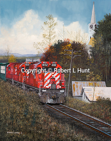 "Canadian Pacific Railroad GP units pulling a freight train through a small Vermont village and fall foliage, oil on canvas, 20"" x 16""."