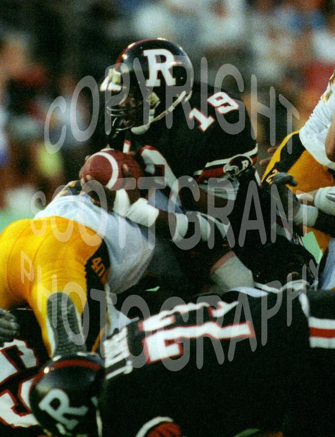 Reggie Barnes Ottawa Rough Riders 1991. Photo F. Scott Grant