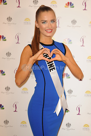 MIAMI, FL - JANUARY 20: Miss Ukraine Diana Harkusha attends a Miss Universe Photocall, at Crown Plaza Hotel, on January 20, 2015 in Miami, Florida. Credit: mpi04/MediaPunch