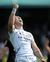 Byron McGuigan of Exeter Chiefs shows his delight at the final whistle