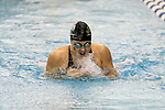 19 February 2016: Notre Dame's Sherri McIntee competes in the 100 Breaststroke preliminary heat 4. The 2016 Atlantic Coast Conference Swimming and Diving Championships were held at the Greensboro Aquatic Center in Greensboro, North Carolina from February 17-27, 2016.