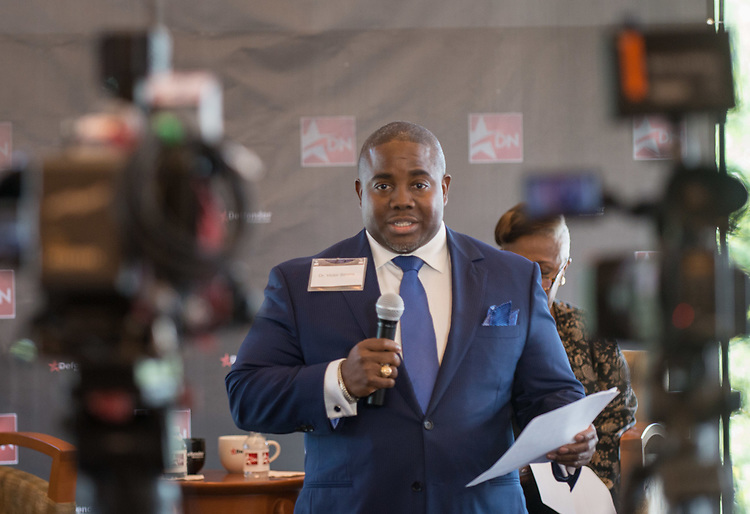 Dr. Victor Sims comments before Houston ISD Superintendent Richard Carranza participates in a Coffee and Conversation sponsored by the Houston Defender and Kelsey-Seybold, June 20, 2017.