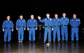 Kennedy Space Center, FL - March 8, 2008 -- STS-123 crew arrives at the Kennedy Space Center for launch aboard the Space Shuttle Endeavour.  From left are Mission Specialists Garrett Reisman, and Takao Doi of the Japan Aerospace Exploration Agency; Pilot Gregory H. Johnson; Commander Dominic Gorie; and Mission Specialists Mike Foreman, Rick Linnehan and Robert L. Behnken. Photo credit: NASA/KSC STS-123 is scheduled for launch at 2:28 a.m. EDT Tuesday, March 11, 2008.   Its mission is to deliver the first pressurized component of the Japanese Kibo (Hope) Laboratory and a Canadian robotic device called Dextre utilizing 5 spacewalks.  Its 16-day flight is the longest shuttle mission to date..Credit: NASA via CNP