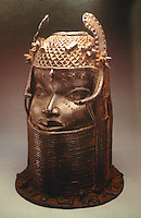 "World Civilization:  Benin--Head of an EBO, 19th Century. Brass and iron, 18""."