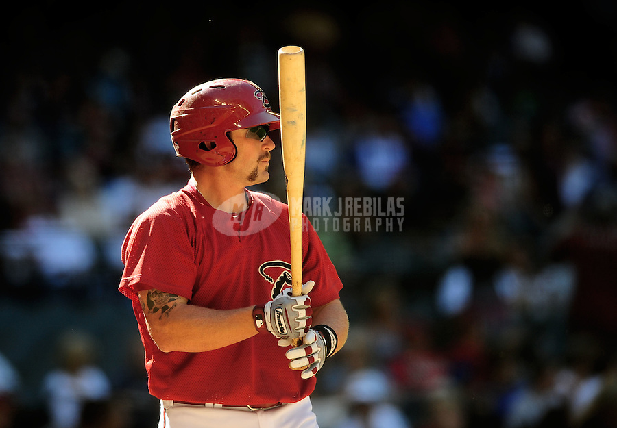 Apr. 3, 2010; Phoenix, AZ, USA; Arizona Diamondbacks player Konrad Schmidt against the Chicago Cubs at Chase Field. Mandatory Credit: Mark J. Rebilas-