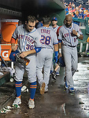 New York Mets left fielder Michael Conforto (30), shortstop Phillip Evans (28), and center fielder Austin Jackson (16) lead their teammates out of the dugout following their team's 25 - 4 loss to the Washington Nationals at Nationals Park in Washington, D.C. on Tuesday, July 31, 2018.  <br /> Credit: Ron Sachs / CNP<br /> (RESTRICTION: NO New York or New Jersey Newspapers or newspapers within a 75 mile radius of New York City)