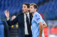 7th November 2019, Rome, Italy; UEFA Europa League football , group stages, Lazio versus Glasgow Celtic;  Simone Inzaghi gives instructions to Senad Lulic - Editorial Use
