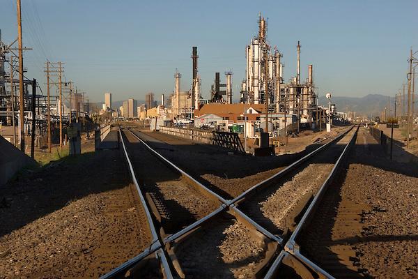 Railroad tracks and refinery, Denver, Colorado, USA