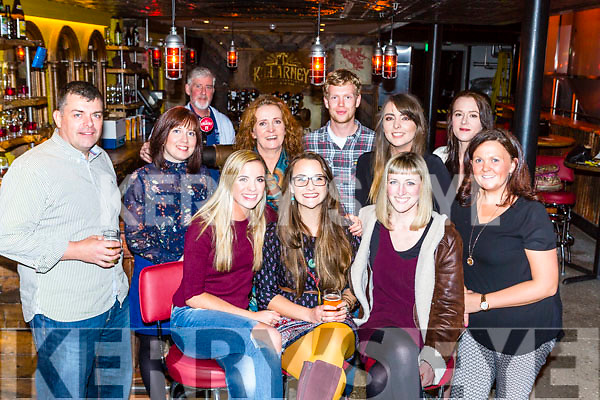 Eimear Lowth Killarney was given a farewell by her colleagues from Lír Cafe in Muckross Brewery on Friday night front l-r: Shelly O'Connor Eimear Lowth, Emma Brosnan. Back row: Adam Oliver, Martina Mollaghan, Joan cronin, Brendan joy, Amy O'donovan, Rachel Snook and Giliian Doody