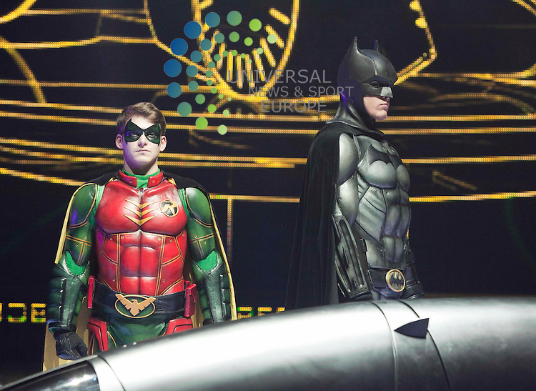 Former river city soap star Sam Heughan, takes to the SECC stage for the stunt-filled spectacular Batman live, with,Kamran Darabi-Ford, as Robin. Johnny Mclauchlan Universal News and Sport (Europe)03/08/2011