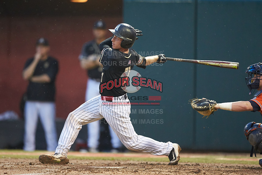 Jon Rosoff (7) of the Army Black Knights follows through on his swing against the Auburn Tigers at Doak Field at Dail Park on June 2, 2018 in Raleigh, North Carolina. The Tigers defeated the Black Knights 12-1. (Brian Westerholt/Four Seam Images)