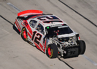 Nov. 7, 2009; Fort Worth, TX, USA; NASCAR Nationwide Series driver Justin Allgaier after crashing during the O'Reilly Challenge at the Texas Motor Speedway. Mandatory Credit: Mark J. Rebilas-