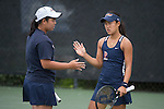 April 25, 2014; San Diego, CA, USA; Pepperdine Waves player Apichaya Runglerdkriangkrai(left) and Lorraine Guillermo (right) during the WCC Tennis Championships at Barnes Tennis Center.