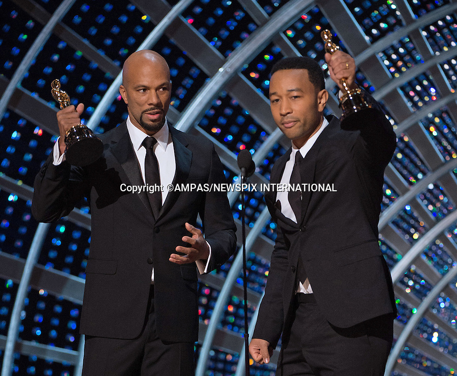22.02.2015; Hollywood, California: 87TH OSCARS - JOHN LEGEND AND COMMON <br /> accept their Oscar during the Annual Academy Awards Telecast, Dolby Theatre, Hollywood.<br /> Mandatory Photo Credit: NEWSPIX INTERNATIONAL<br /> <br />               **ALL FEES PAYABLE TO: &quot;NEWSPIX INTERNATIONAL&quot;**<br /> <br /> PHOTO CREDIT MANDATORY!!: NEWSPIX INTERNATIONAL(Failure to credit will incur a surcharge of 100% of reproduction fees)<br /> <br /> IMMEDIATE CONFIRMATION OF USAGE REQUIRED:<br /> Newspix International, 31 Chinnery Hill, Bishop's Stortford, ENGLAND CM23 3PS<br /> Tel:+441279 324672  ; Fax: +441279656877<br /> Mobile:  0777568 1153<br /> e-mail: info@newspixinternational.co.uk