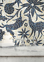Otomi, a hand-cut jewel glass mosaic, shown in Agate and Marcasite, is part of the Kiddo™ Collection by Cean Irminger for New Ravenna.