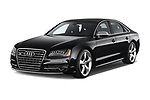 2014 Audi S8 Base 4 Door Sedan angular front stock photos of front three quarter view
