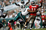 Tampa Bay Buccaneers quarterback Josh Johnson #11 is sacked during the NFL game between the Tampa Bay Buccaneers and the Philadelphia Eagles on October 11th 2009. The Eagles won 33-14 at Lincoln Financial Field in Philadelphia, Pennsylvania. (Photo By Brian Garfinkel)