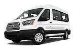 Stock pictures of low aggressive front three quarter view of a 2019 Ford Transit Wagon 350 XLT Wagon Med Roof Sliding Pass. 148 5 Door Passenger Van