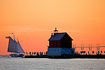 Grand Haven Lighthouse and sailboat lighthouses in the Upper Peninsula of Michigan