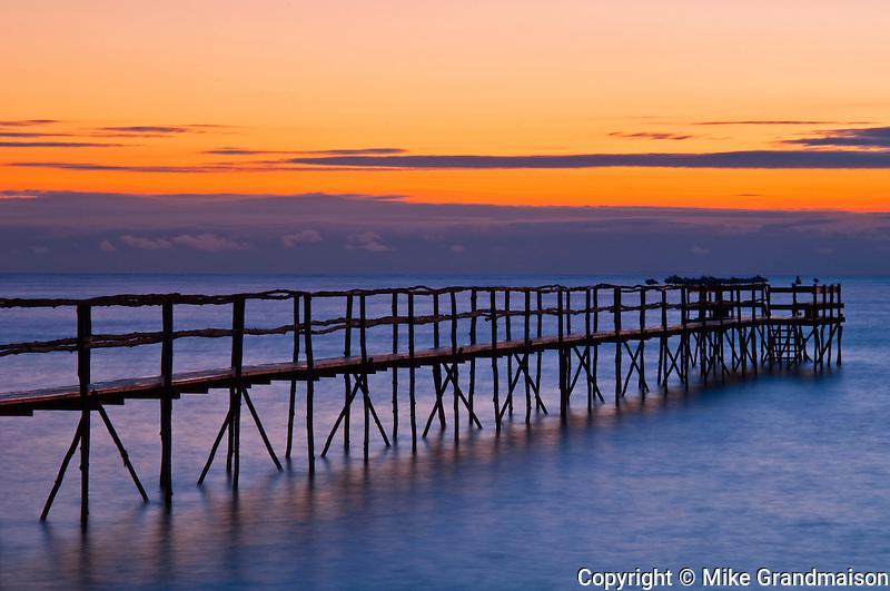 Pier (dock) on Lake Winnipeg at dawn<br /> Matlock<br /> Manitoba<br /> Canada