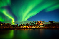 The Aurora Borealis light up the night sky of the Lofoten Islands, Norway.
