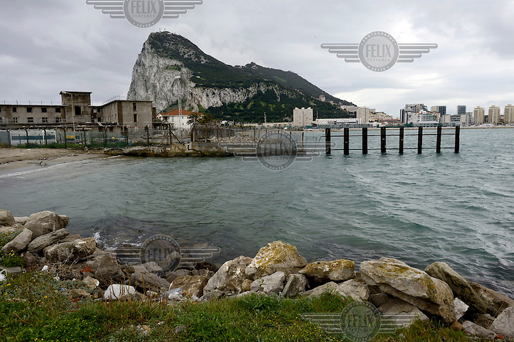 The Rock of Gibraltar seen from the Spanish side of the border.