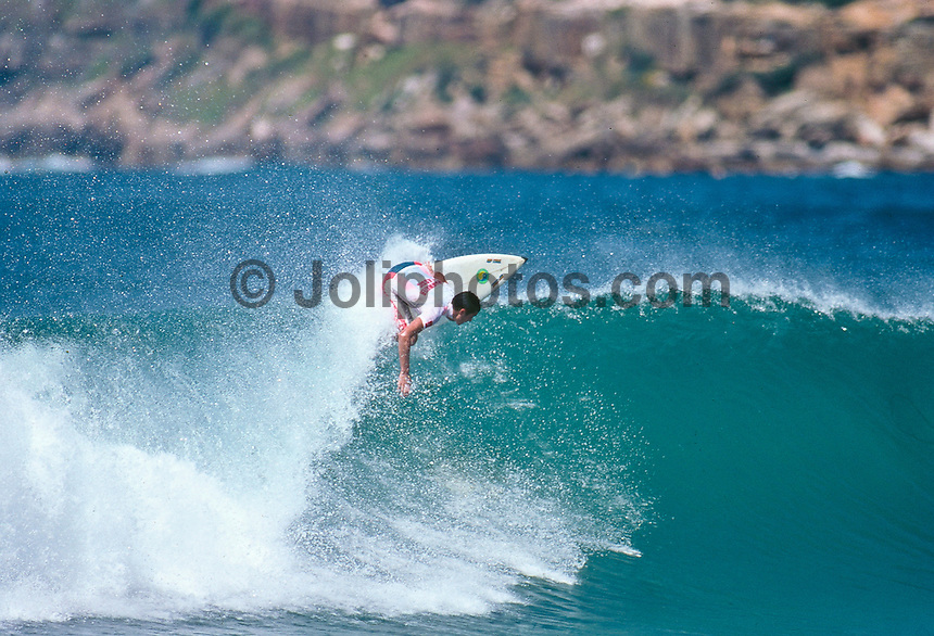 Nicky Wood (AUS)surfing in the 1991 Drug Offensive Cleanwater Classic at Manly Beach, Sydney, Australia. Photo. joliphotos.com