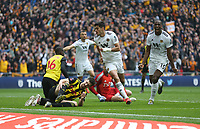 Wolverhampton Wanderers' Raul Jimenez celebrates scoring his side's second goal <br /> <br /> Photographer Rob Newell/CameraSport<br /> <br /> Emirates FA Cup Semi-Final  - Watford v Wolverhampton Wanderers - Sunday 7th April 2019 - Wembley Stadium - London<br />  <br /> World Copyright © 2019 CameraSport. All rights reserved. 43 Linden Ave. Countesthorpe. Leicester. England. LE8 5PG - Tel: +44 (0) 116 277 4147 - admin@camerasport.com - www.camerasport.com