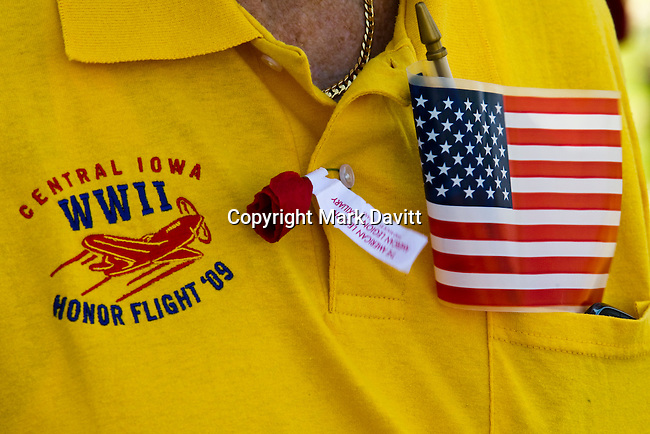 Several veterans displayed their honor flight t-shirts commemorating when veterans were flown to Washington DC to visit the various memorials.
