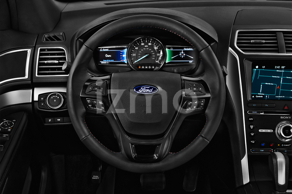 Car pictures of steering wheel view of a 2018 Ford Explorer Sport 5 Door SUV