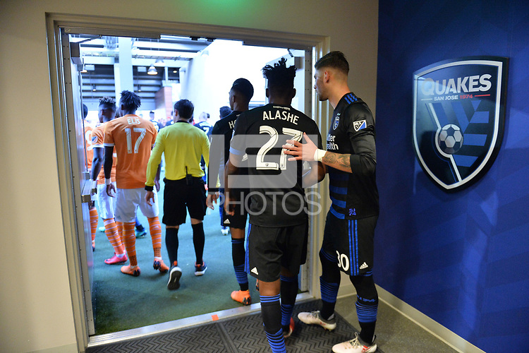 San Jose, CA - Saturday April 14, 2018: Fatai Alashe, Yeferson Quintana prior to a Major League Soccer (MLS) match between the San Jose Earthquakes and the Houston Dynamo at Avaya Stadium.