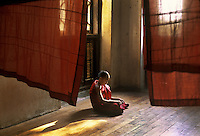 Monk reading, Sagain, Burma, 2005