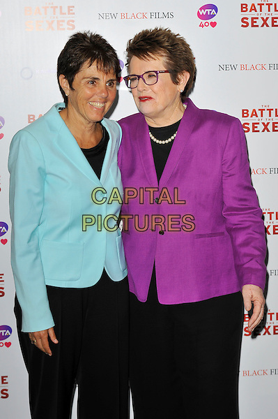 Ilana Kloss and Billie Jean King<br /> The gala screening of 'The Battle Of The Sexes', Vue Cinema, Leicester Square, London, England. <br /> 26th June 2013<br /> half length black purple pearl necklace glasses blazer blue  <br /> CAP/MAR<br /> &copy; Martin Harris/Capital Pictures