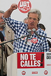 Expression of the Spanish trade unions against cuts and closures of public services.Jose Ricardo Martinez, Secretary General of UGT Madrid. during the union rally after demonstration..(Alterphotos/Ricky)