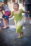 Independence Day celebration Main Street, Mokelumne Hill, California..Wet Sponge Race