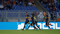 Calcio, Serie A: Roma vs Inter. Roma, stadio Olimpico, 2 ottobre 2016.<br /> FC Inter's Ever Banega, left, celebrates with teammates after scoring during the Italian Serie A football match between Roma and FC Inter at Rome's Olympic stadium, 2 October 2016.<br /> UPDATE IMAGES PRESS/Isabella Bonotto