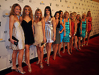 "Members of the New England Patriots cheerleading squad pose on the red carpet at Playboy's ninth annual ""Super Saturday Night""  party in at Playboy's Desert Oasis and Resort in Chandler, Arizona Saturday February 2, 2008.   (Photo by Alan Greth)"