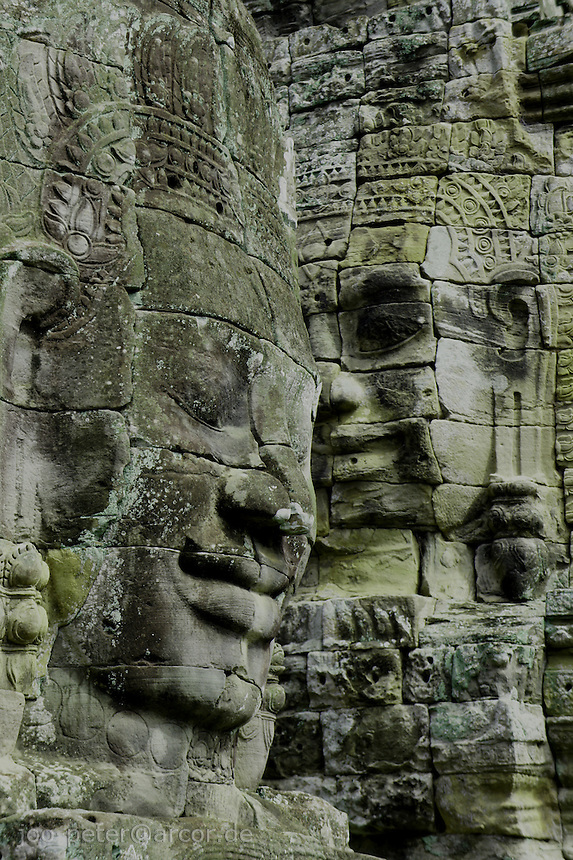 Face reliefs at Bayon temple, , Angkor Wat, Cambodia, August 2011